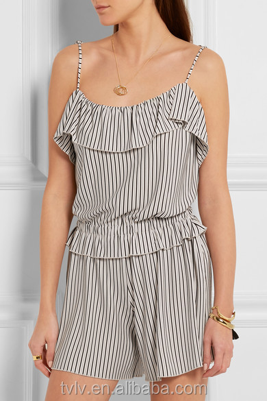 Fashion Clothing For Womens Boutiques 2016 Striped Playsuit With Playful Ruffled Trims