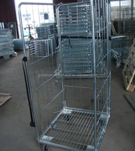Warehouse Equipment Wire Mesh Struceture Roll Container Steel Trolley Storage Metal Cart Pallet Cages Roll Cages