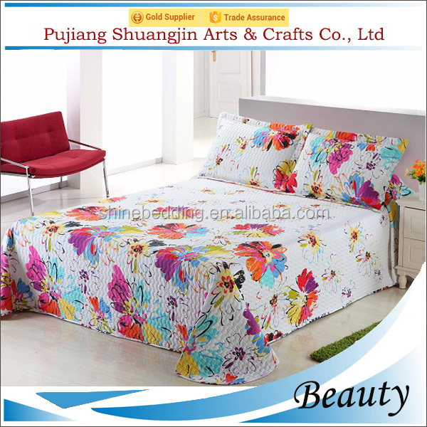 Factory manufactores wedding home textile 100% polyester 3d printed bed cover set