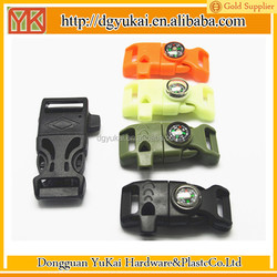 Hot selling buckle/plastic buckle/paracord survival bracelet with fire starter buckle
