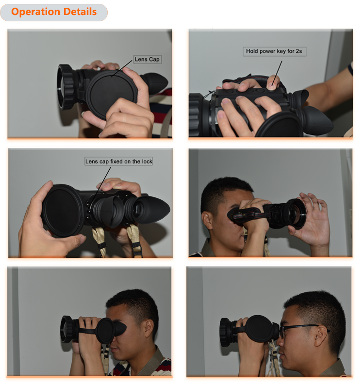 Infrared night vision thermal hunting binoculars T600-D no shutter type with 640x480 resolution