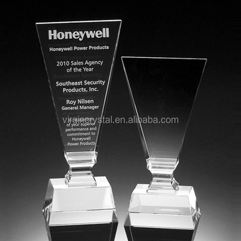 Hot sale clear crystal trophy custom employee recognition award