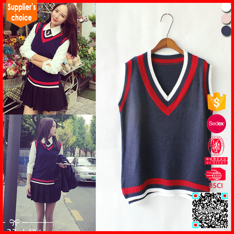 New fashion design v neck pullover high school uniform vest sweater
