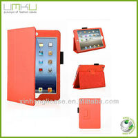 orange color book style leather case stand case for ipad mini