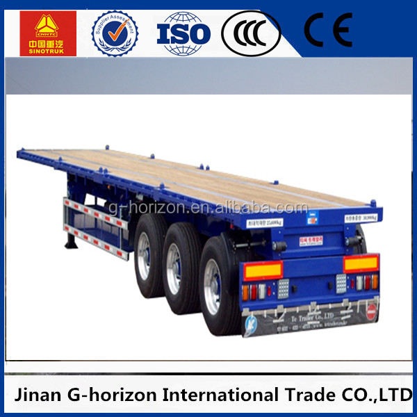 50 ton loading capacity Three axle semi trailer/flat bed type store house bar semi trailer/2 axle truck trailer