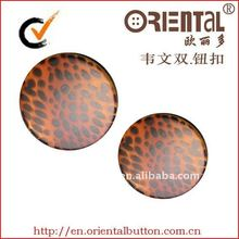fashion plastic shank button with printed tiger line