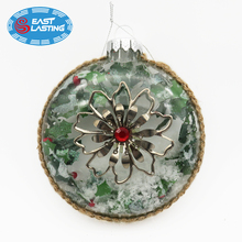 Transparent round flat glass snow mistletoe snowflake Christmas ornament ball