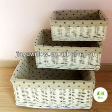 Multifunctional willow storage baskets sets with handmade fabric