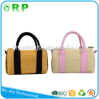 Stylish girl shopping dedicated with zipper rattan beach straw bag