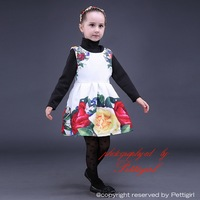 2016 New Arrival Girl Dress With Big Rose Sleeveles Girls Dresses Floral Kids Dress For Holiday and Party Children GD80928-23
