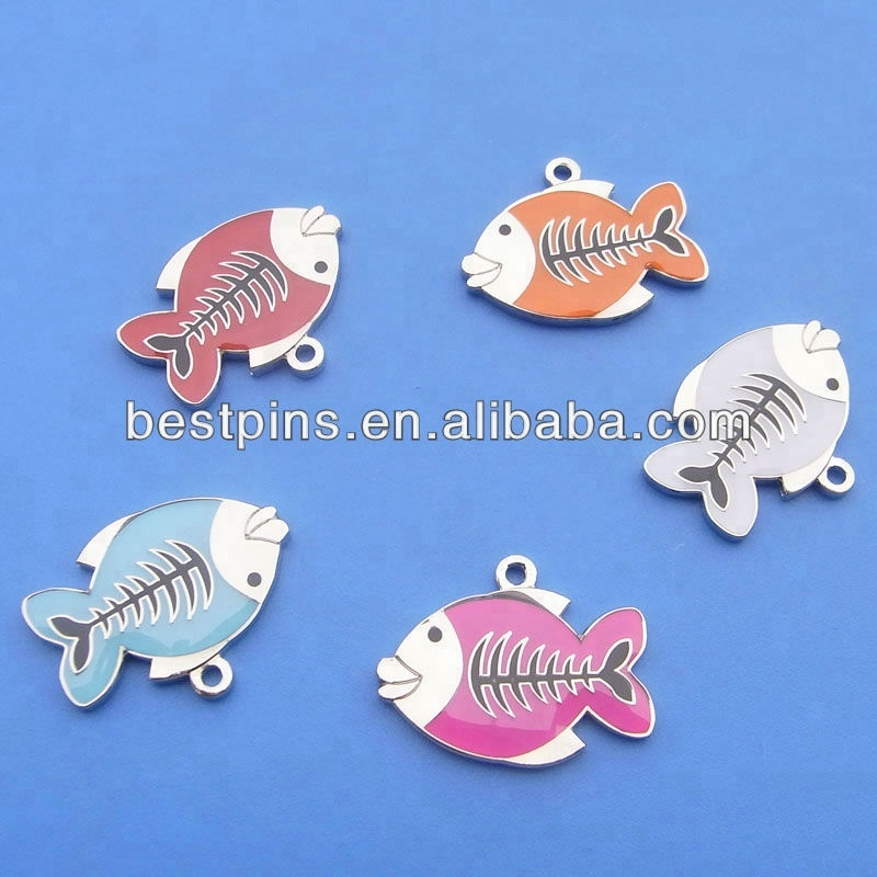Personalized cute fish shape cat collar tags pet id tags pendant