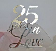 Custom Silver Mirror Acrylic Anniversary Cake Toppers