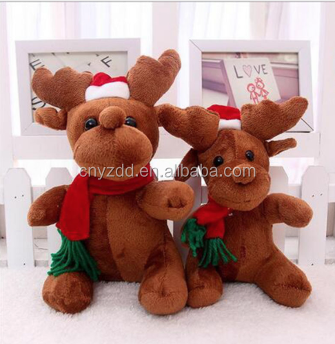 Factory Produced 25/50cm Plush Toy Reindeer Xmas Elk Stuffed Animals New Year Christmas Decorations Gift Kids Toy