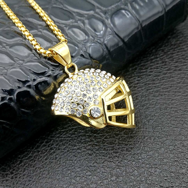 2018 New 316L Stainless Steel Gold Plated Crystal Sports Jewelry Hip Hop Rugby Helmet Pendant Necklace