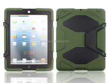 Latest super popular wholesale hard heavy duty waterproof Armor rugged Case Cover For iPad 2 3 4