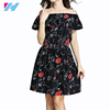new fashion ladies dress printing Dew shoulder casual dress