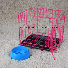 2 Doors Wire Folding Pet Crate Dog Cat Cage Suitcase Kennel Playpen w/ Tray