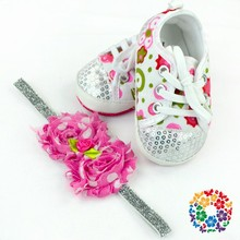 2016 Stylish Baby Girl Shoes Fancy Baby Sports Shoes With Headband In Bulk