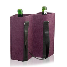 Luxury travel gift 2 bottles felt wine bag with handle
