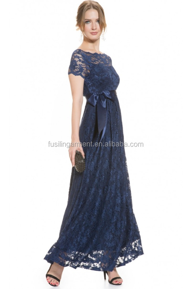 MATERNITY Lace Gown In NAVY dress, long maternity clothes,short sleeve maternity clothing