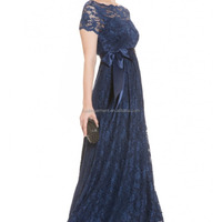 MATERNITY Lace Gown In NAVY Dress