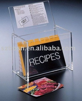 Acrylic Recipe Box,Perspex Cookbook Box,Acrylic Box