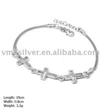 925 Silver Bracelet without MOQ, Plain Silver Cross Bracelet (SL-150)