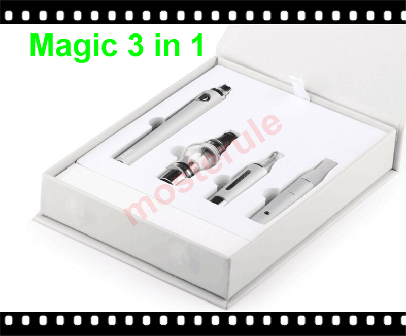 Magic 3 in 1 Dry herb Ago G5 herbal atomizer Wax oil Glass globe vaporizer E-liquid MT3 Clearomizer 1100mAh Evod