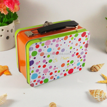 Promotional kids gift rectangular lunch box tins with handle