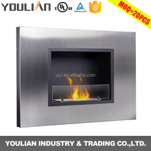 Simple design modern UL certificated decorative bio ethanol smokeless flaming fireplace (FP-105W)