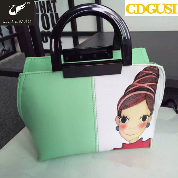 2015 new fashion women Wooden handle shopping bag PU leather handbag tote female bags