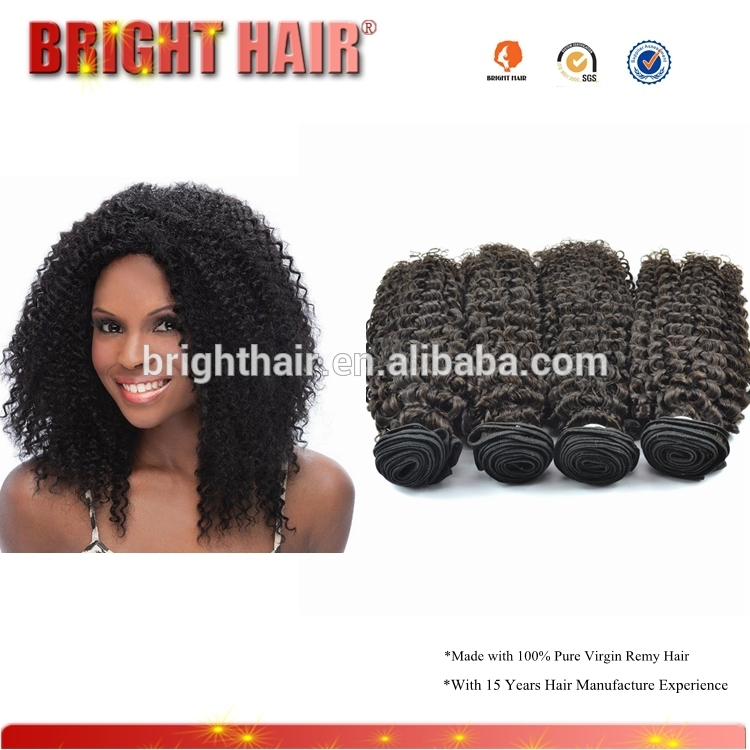 18 inches peruvian hair,can be dyed grey human hair weft, kinky curly peruvian hair weave