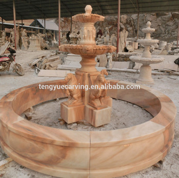 Hand Carved Estate Horse Outdoor Water Marble Fountain