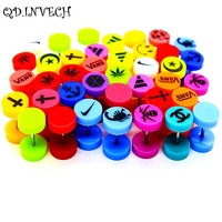 New arrival colorful piercing jewelry acrylic earring tragus plugs with different patterns