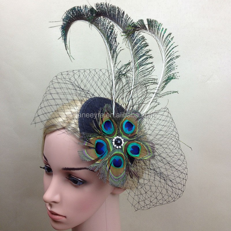 New Style Big Peacock Feather Hair Fascinator With Veil
