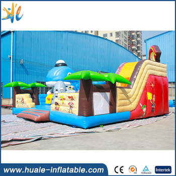 Huale hot sale plato pvc commercial inflatable bouncy with giant slide