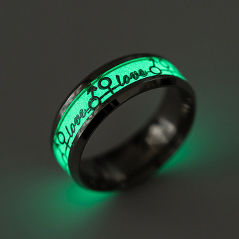 Latest Magic Custom LOVE Letter Rings Trendy Couple Creative Green Luminous Stainless Steel Double Ring