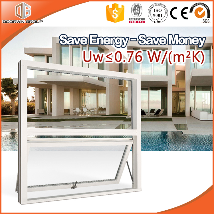 Energy Saving Latest Design Wood Aluminum Composite Wood Clad Thermal Break Aluminum Top Hung Windows
