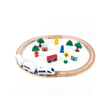 FQ brand wholesale baby go toy interesting educational wooden toy kids train ho track set child locomotive model train