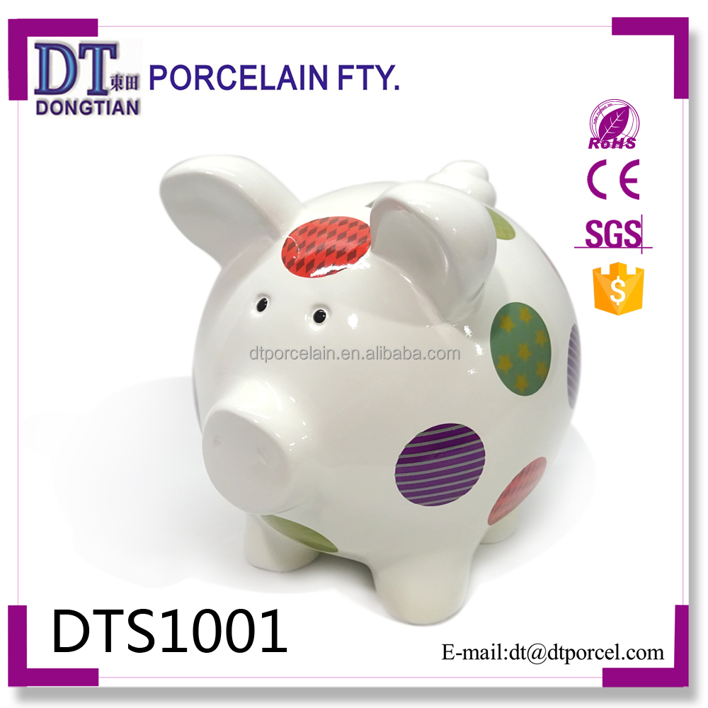 Custom cute spotty animal pig shape piggy bank professional coin bank manufacturer