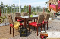 2016 New Design Wicker Dining Table and Chair Home Furniture (Hand woven by wicker,hyacinth & wooden frame)