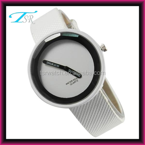 fashional anticlockwise leather watch,multi colours two hands watch for unisex