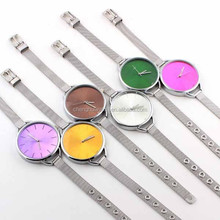 Trendy Women Girls Charm Big Unique Face Small Band Fashion Wrist Watch with stainless steel strap wrist watch
