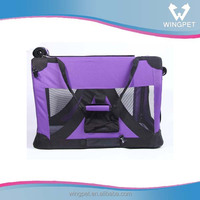 Purple dog crate with durable mesh dog carrier bag