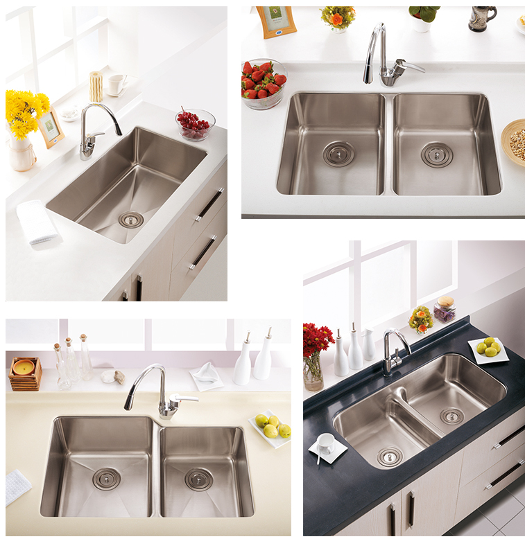 High-tech Three Bowls Kitchen Sink Water Tank Stainless Steel Kitchen Sinks
