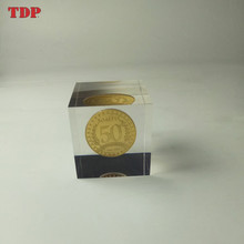 Wholesale Custom Clear Square Resin Coin Paperweight for Souvenir