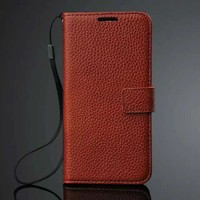 Lychee pattern genuine leather phone case for samsung s6