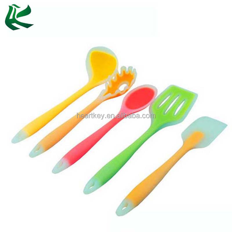 5-piece Colorful Kitchen Utensils <strong>Set</strong>, High Quality Silicone Coated Steel Core Kitchen Cooking Gadget Utensils <strong>Set</strong>
