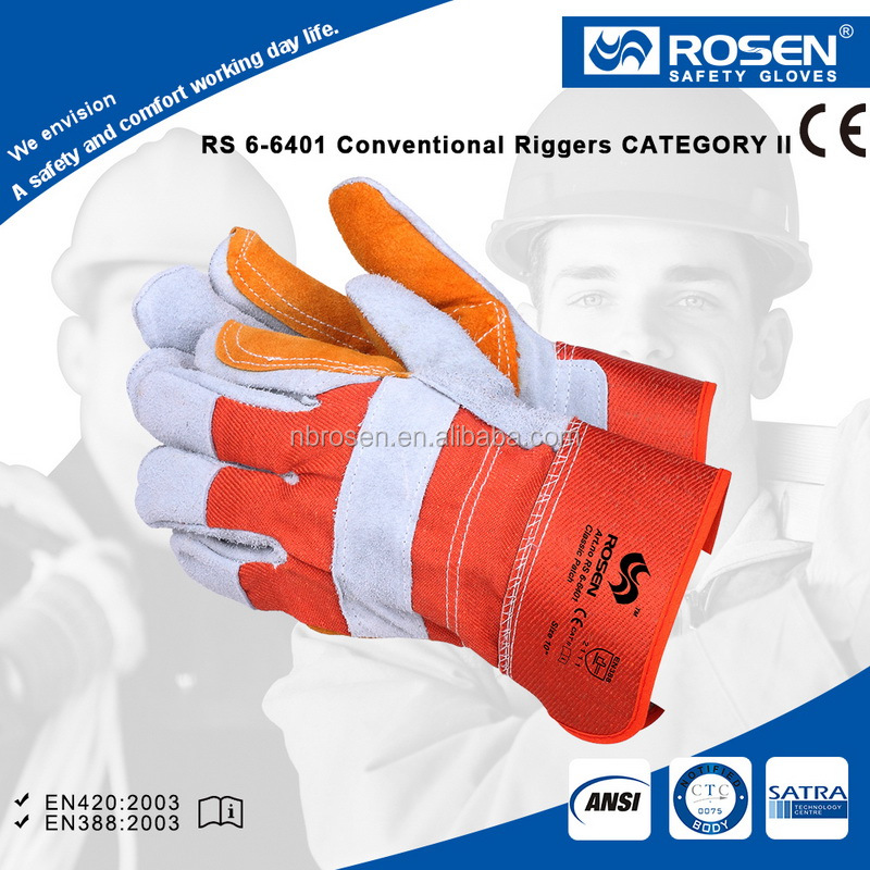 RS SAFETY Canadian rigger industrial work glove EN388 in cow split Double palm leather work glove