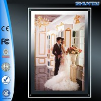 Wall mounted backlit led picture crystal light box frame signs